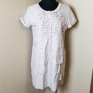 J Crew Button Front Ruffle Tiered Khaki Dress